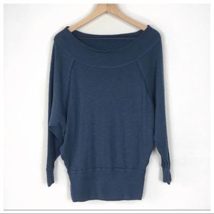 Free People Blue Oversized Thermal Long Sleeve Top